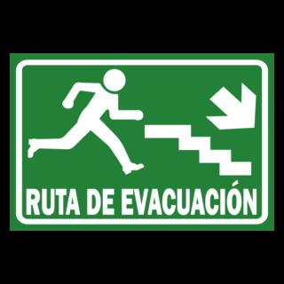 Senaletica Ruta de Evacuacion Bajando Gradas Derecha